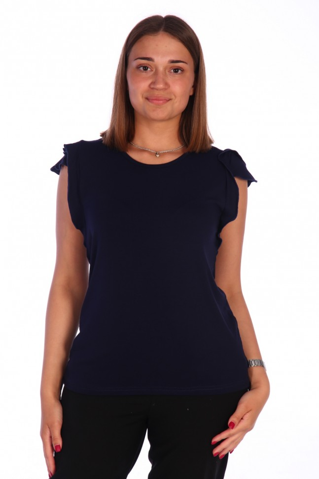 Блуза вискозная Лана (темно-синяя) фото
