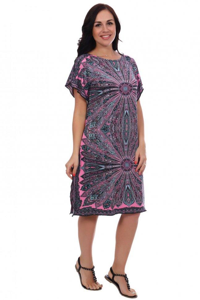 Платье трикотажное Восток (розовое) фото