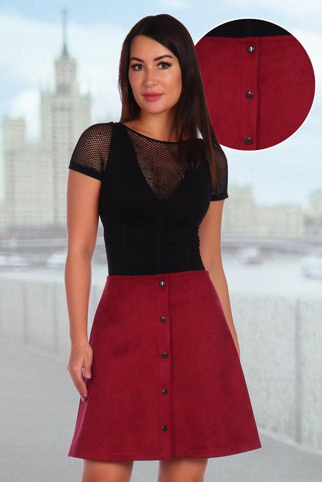 Юбка Бетси (бордовая) фото