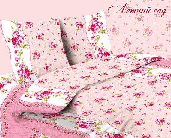 Комплект из бязи 2-спальный Летний сад (розовый) фото