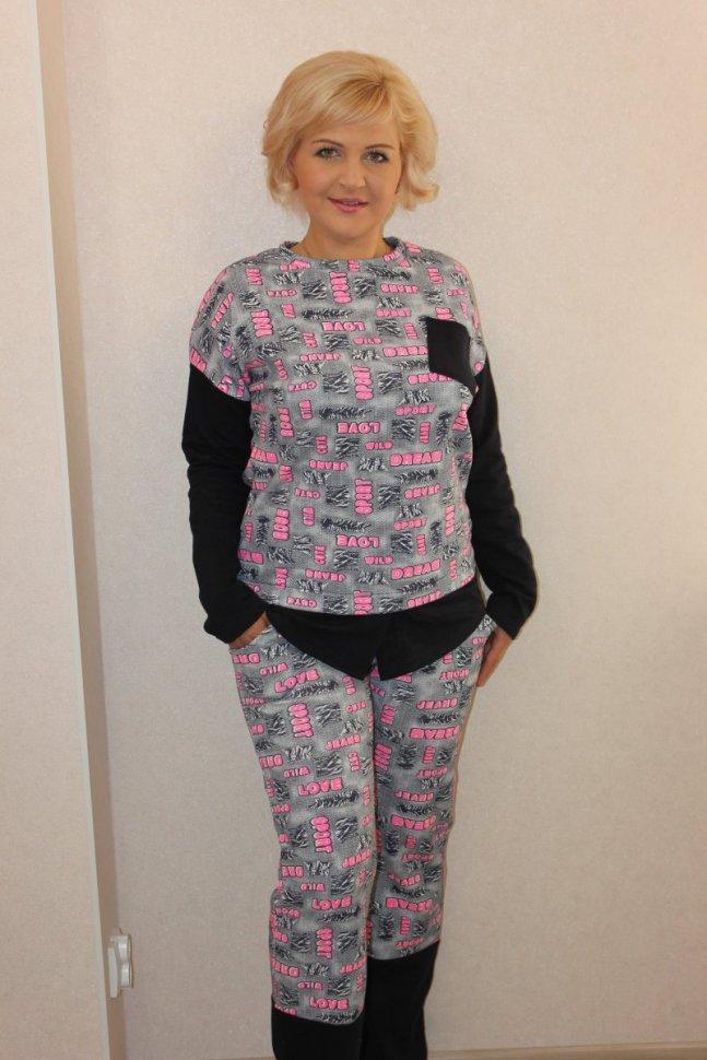 Костюм трикотажный Джейн (серо-розовый) фото