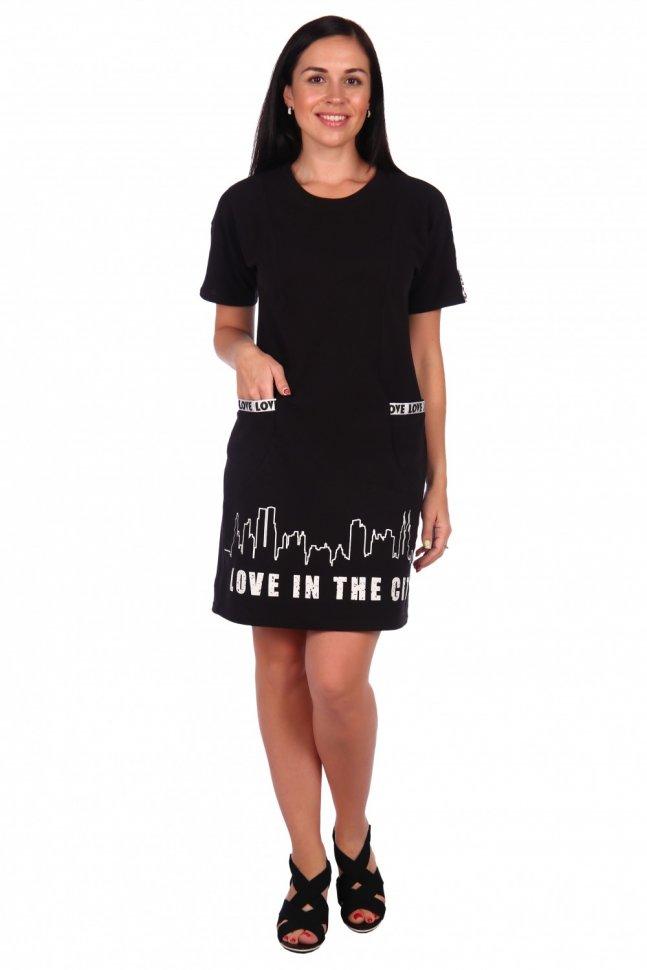 Платье трикотажное Фестиваль (черное) фото