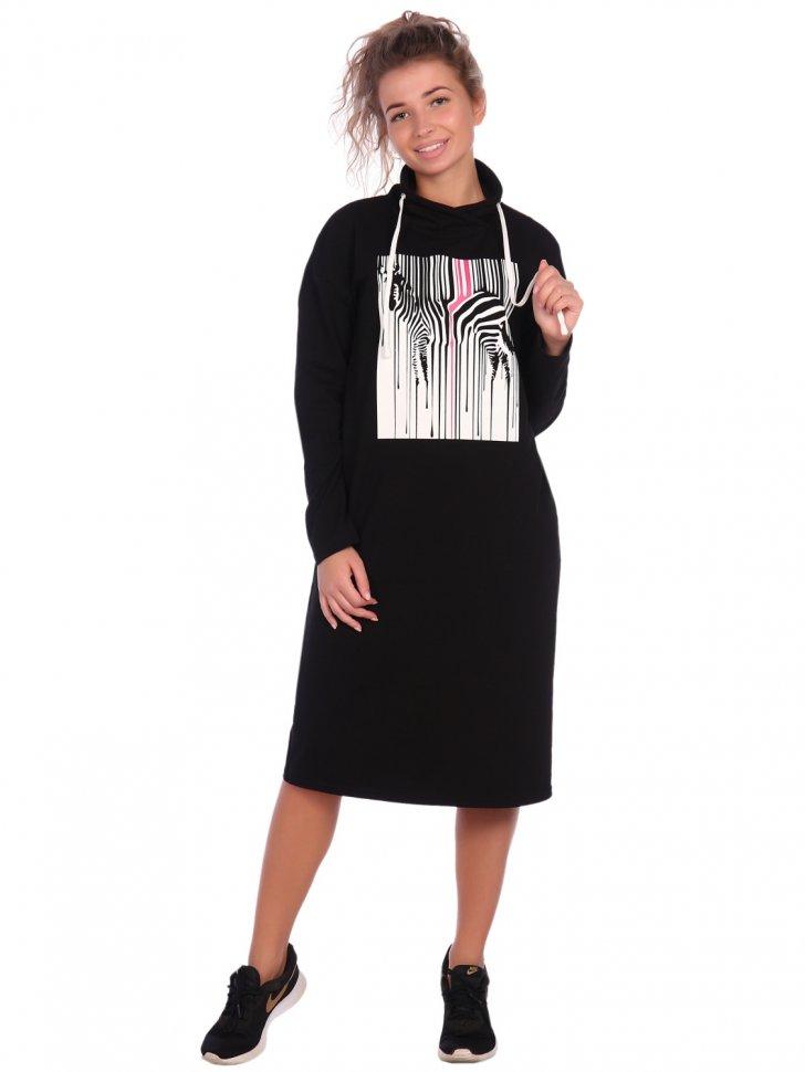 Платье трикотажное Моргана (черное) фото