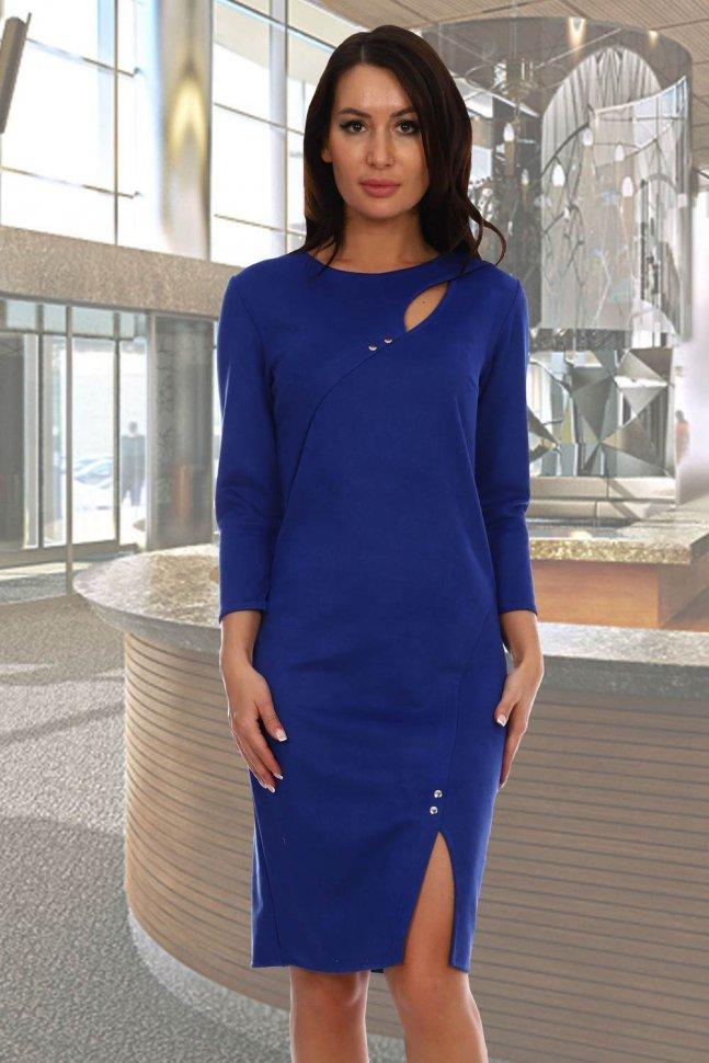 Платье замшевое Матэо (васильковое) фото