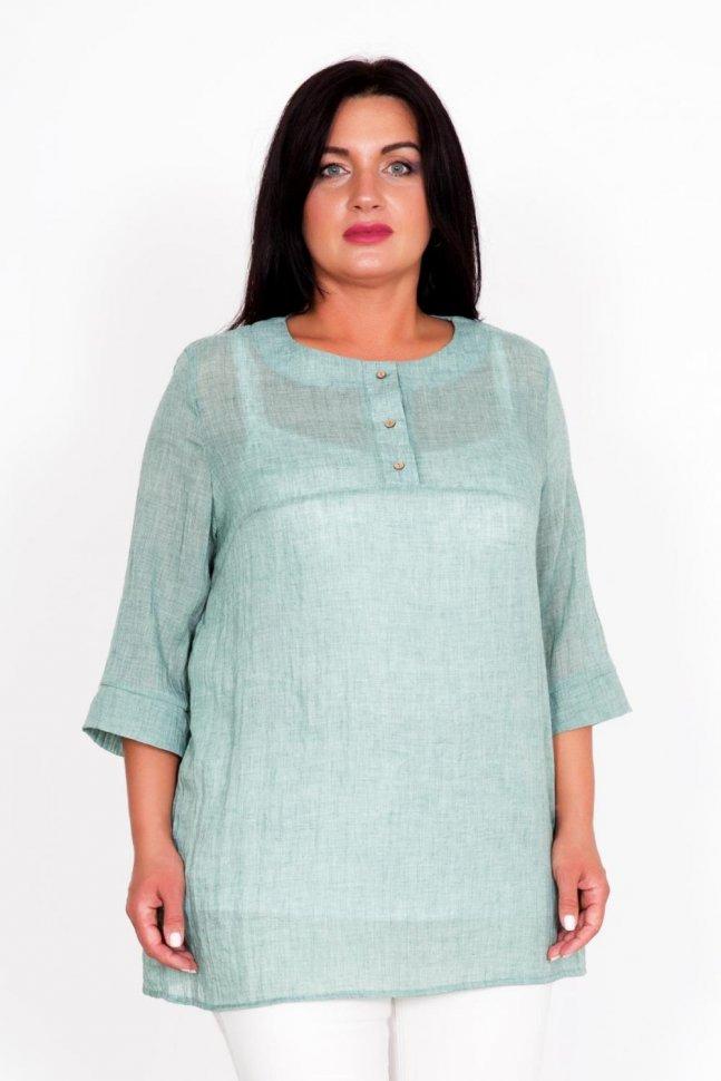 Блуза трикотажная Джу (зеленая) фото