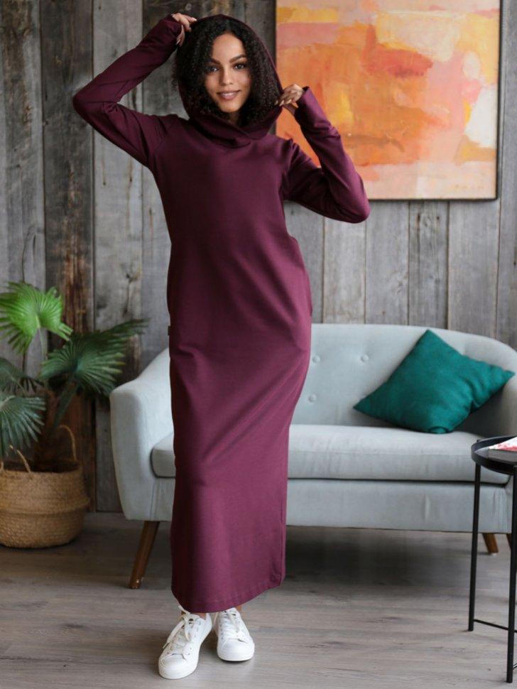 Платье трикотажное Эрнестина (винное)