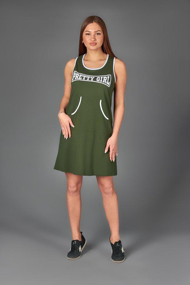 Платье трикотажное Агнета (хаки) фото