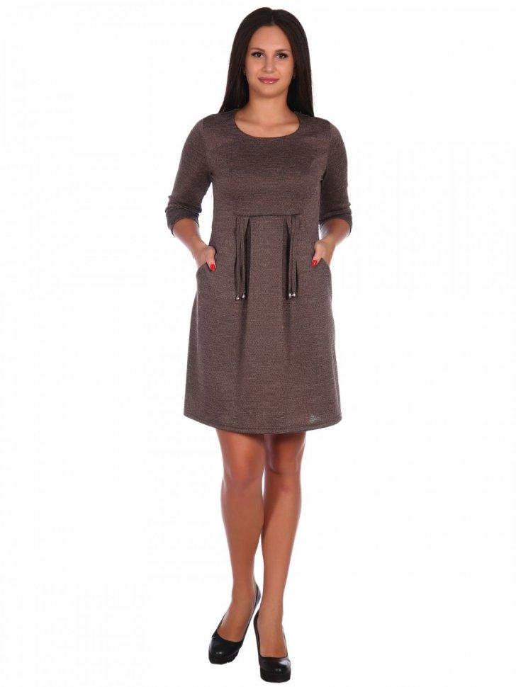 Платье трикотажное Анфиса (коричневое) фото