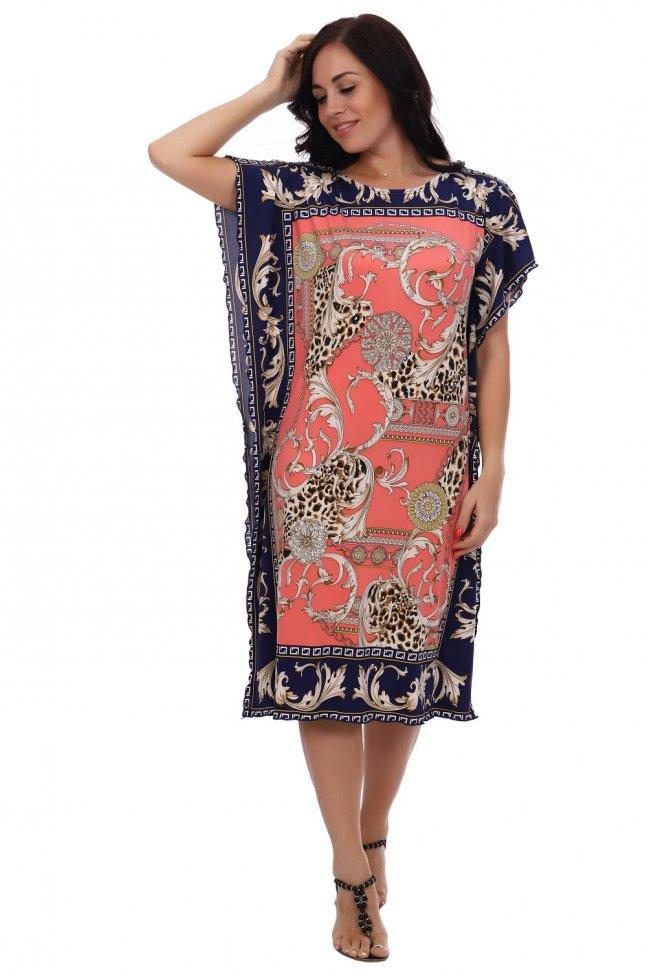 Платье трикотажное Восток (коралловое) фото