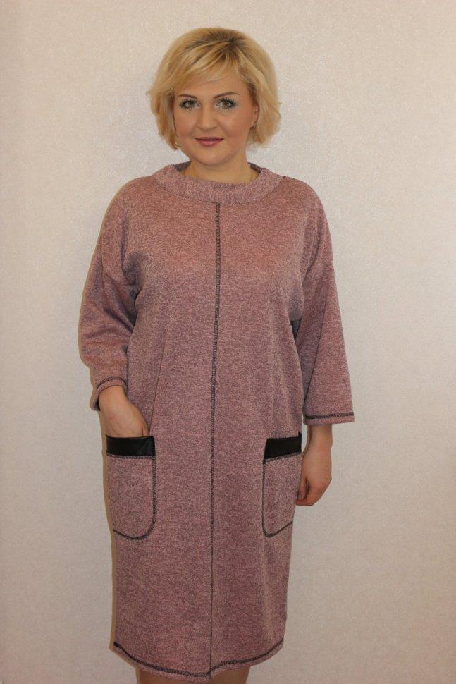 Платье трикотажное Джанет (розовое) фото