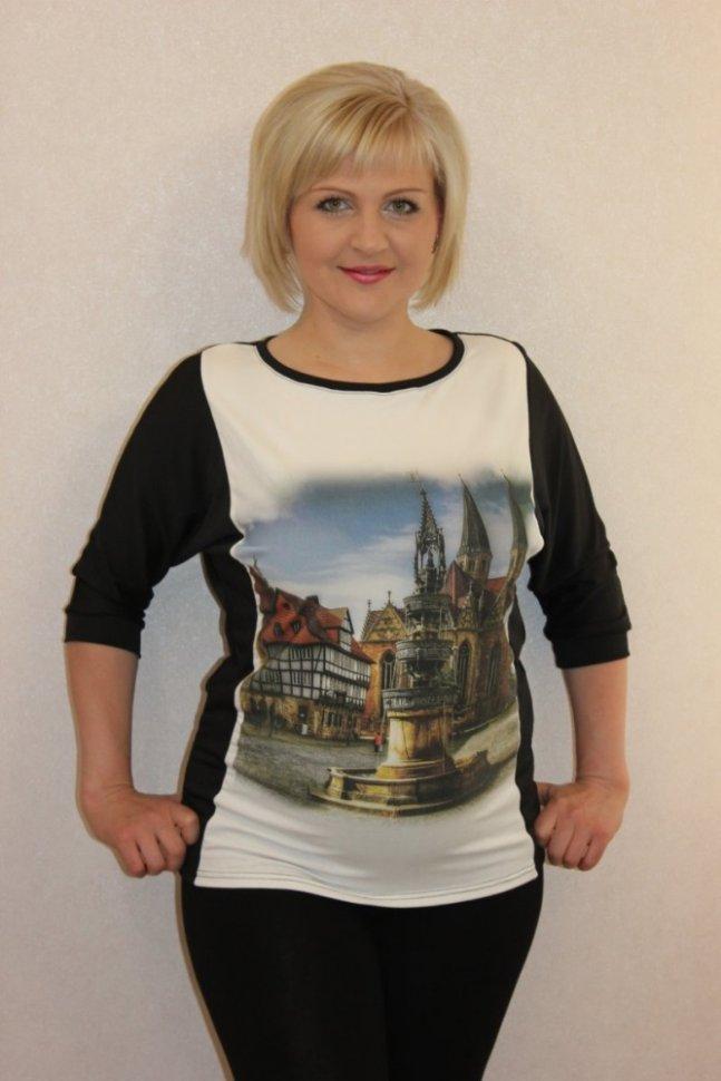 Блуза трикотажная Опра (фонтан) фото
