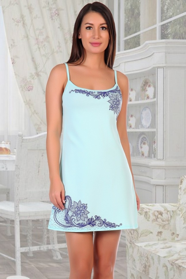 Ночная сорочка Кружева (ментоловая) фото
