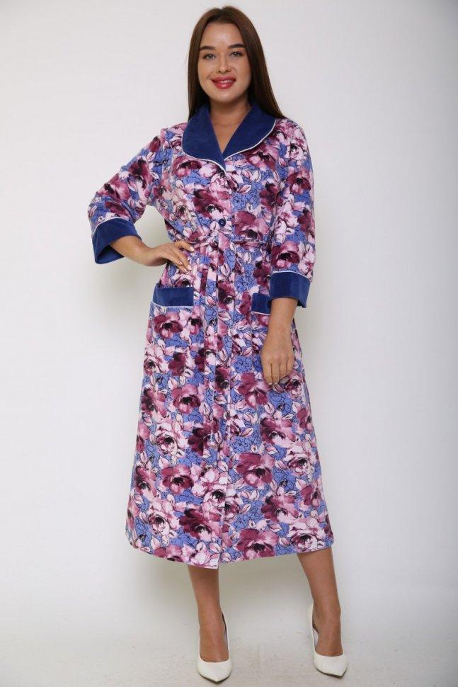 Халат велюровый Габби (фиолетовые цветы)