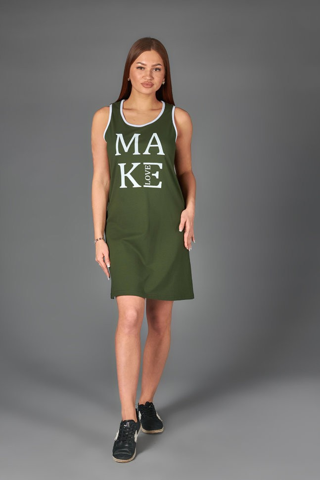 Платье трикотажное Дагни (хаки) фото