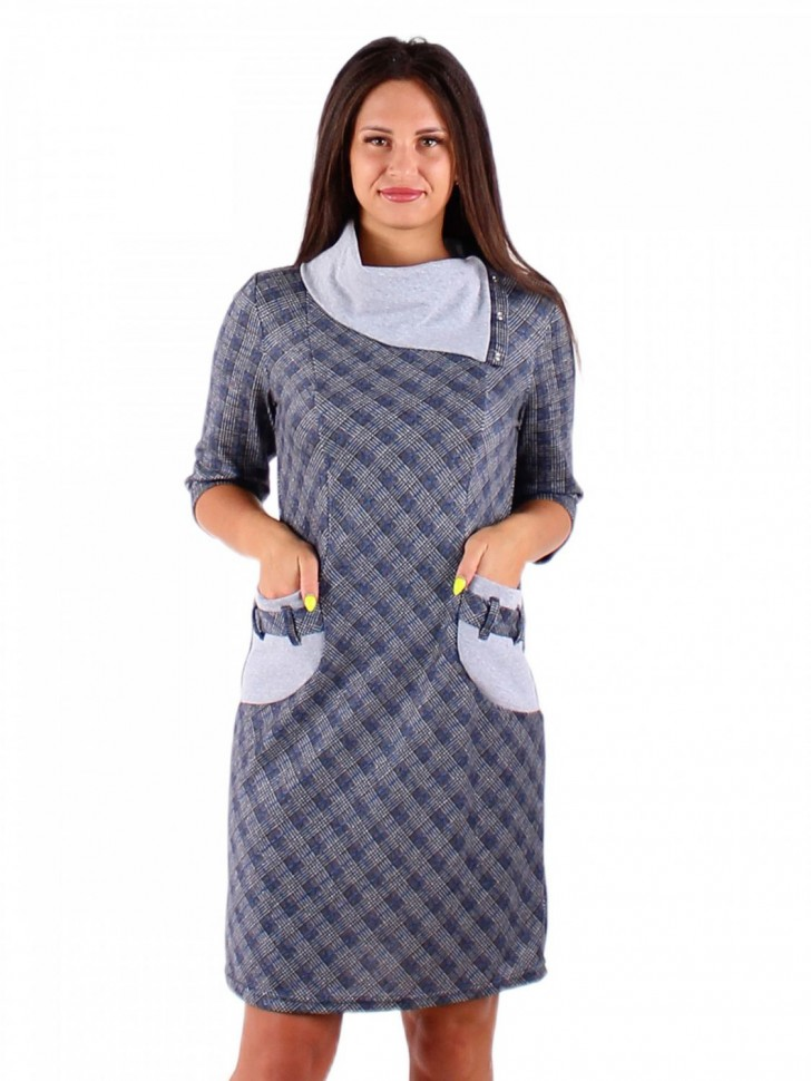 Платье трикотажное Ефимия (серо-синее) фото