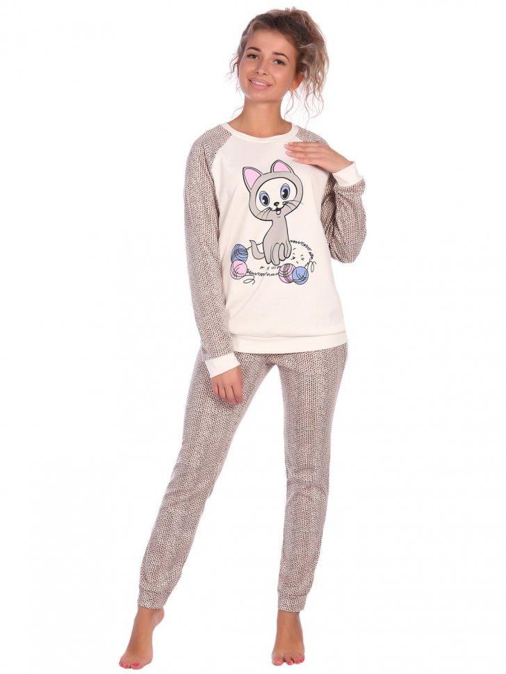 Пижама трикотажная Пейсли (песочная) фото