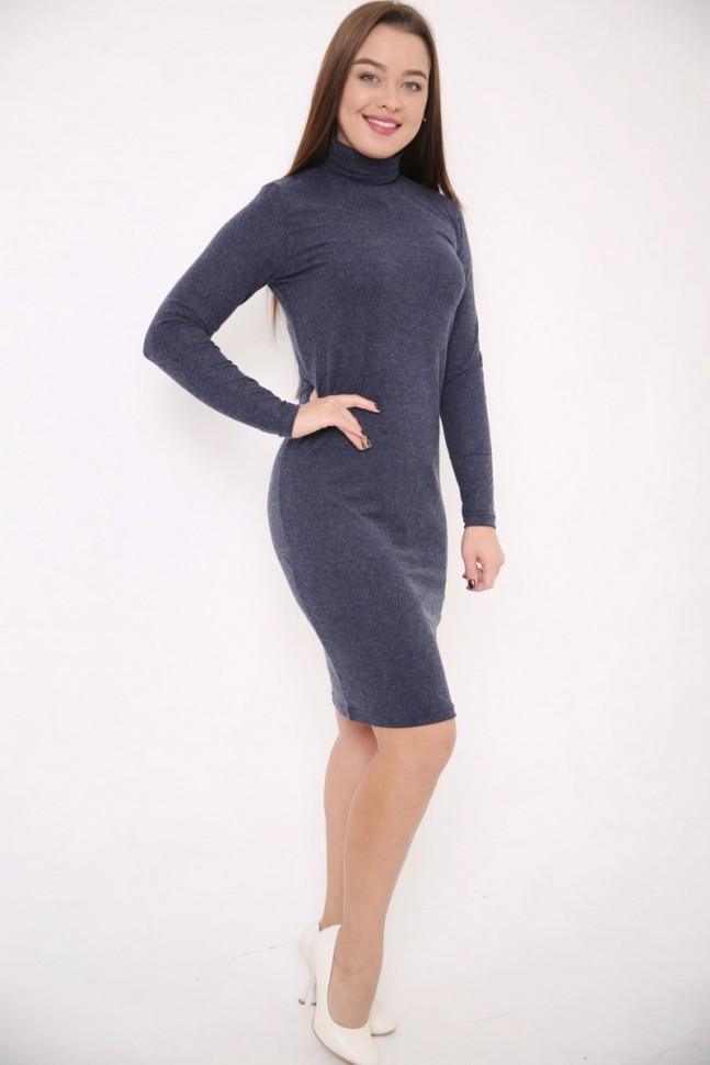 Платье трикотажное Хейз (темно-синее) фото