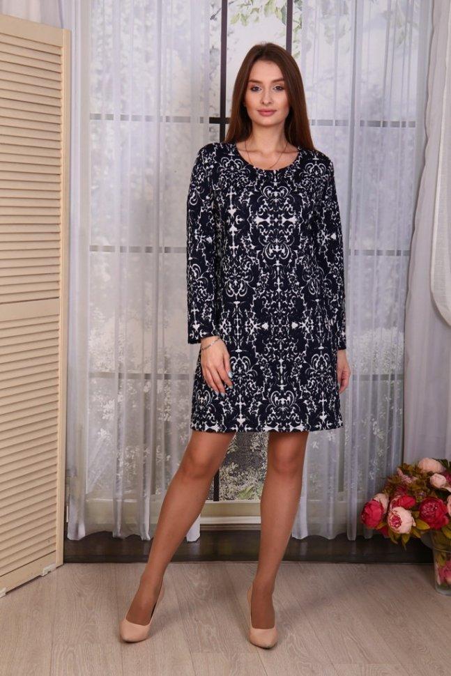 Платье трикотажное Карлин (синее) фото