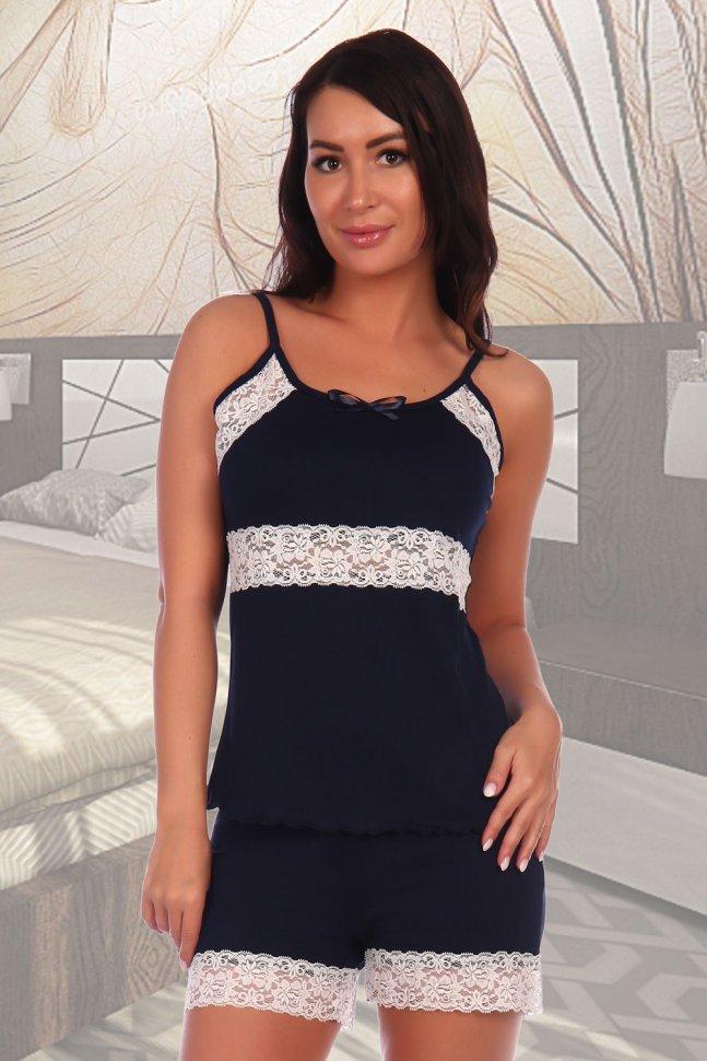 Пижама вискозная Ондреа (темно-синяя) фото