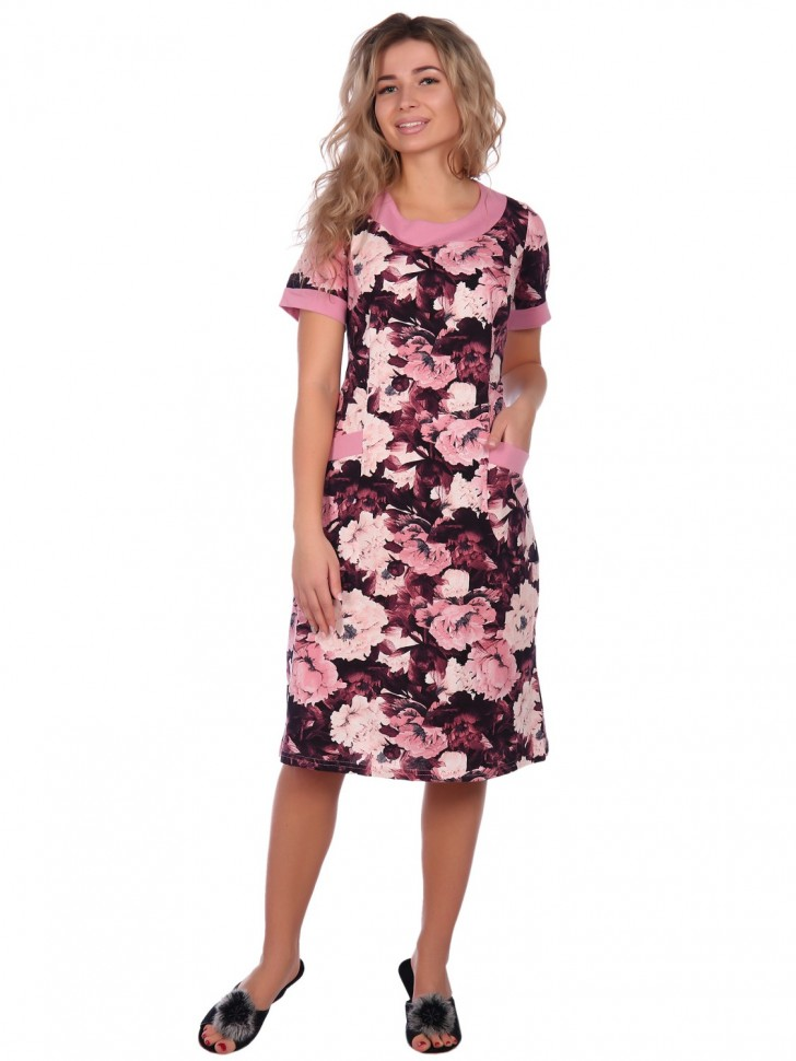Платье трикотажное Аминда (цветы) фото