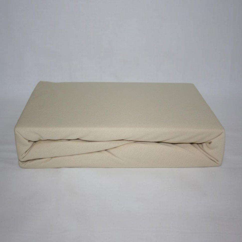 Простынь на резинке трикотажная 160x200 (бежевая) фото