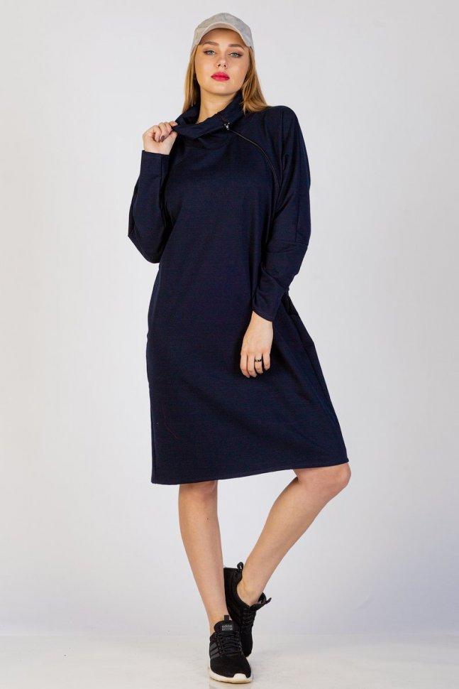 Платье трикотажное Марселлет (синее) фото