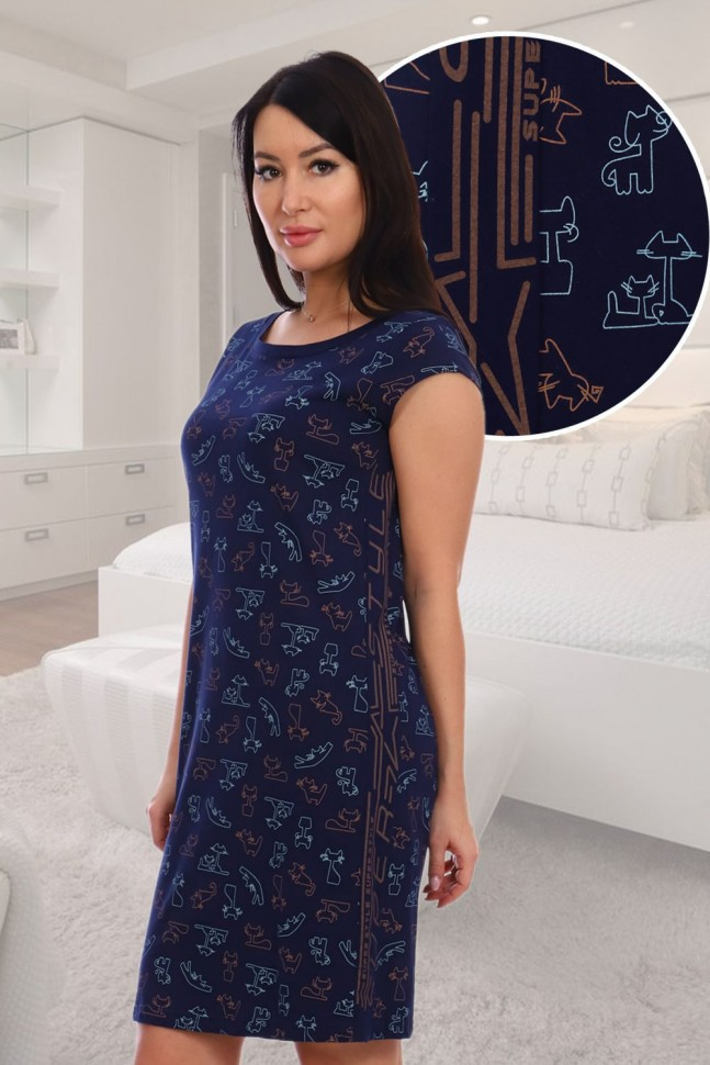 Ночная сорочка Перонел (темно-синяя) фото