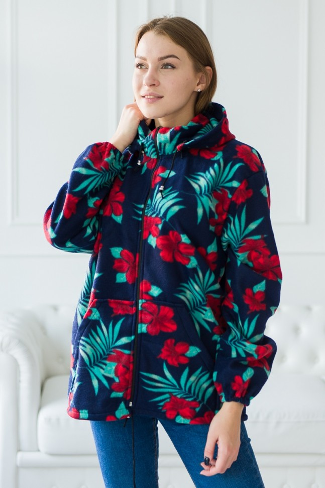 Толстовка флисовая Нивета (красные цветы) Инсантрик 57436