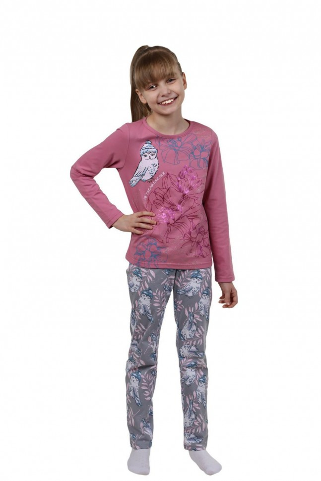 Купить Пижама детская Совушка (розовая), Инсантрик, Пижамы