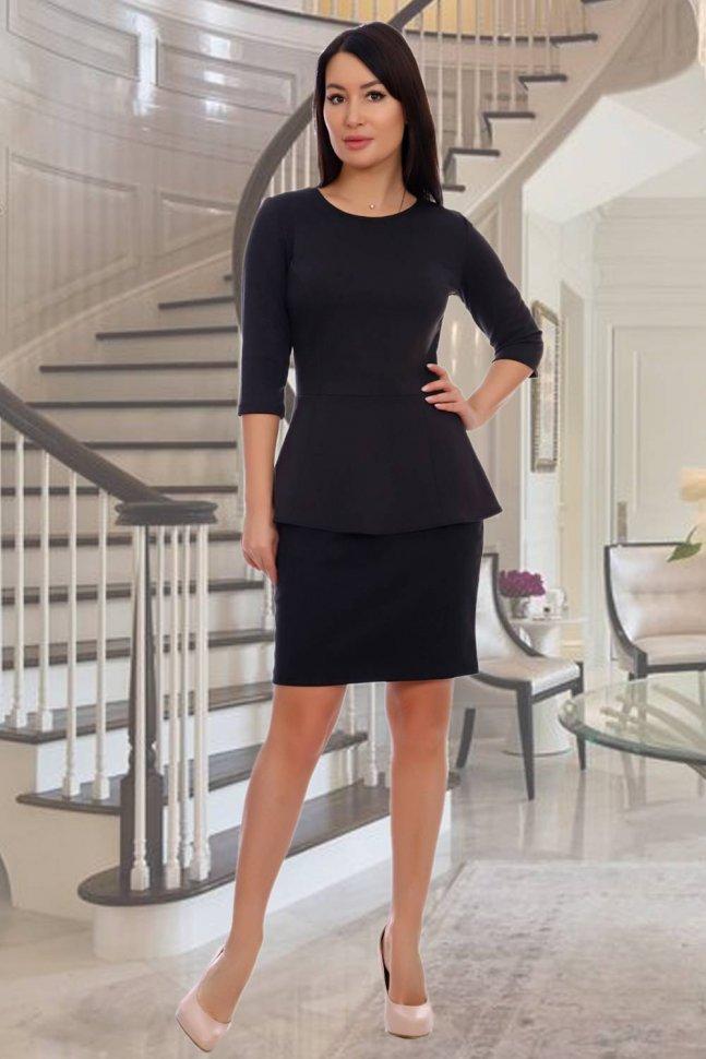 Блуза трикотажная Валенсия (черная) фото