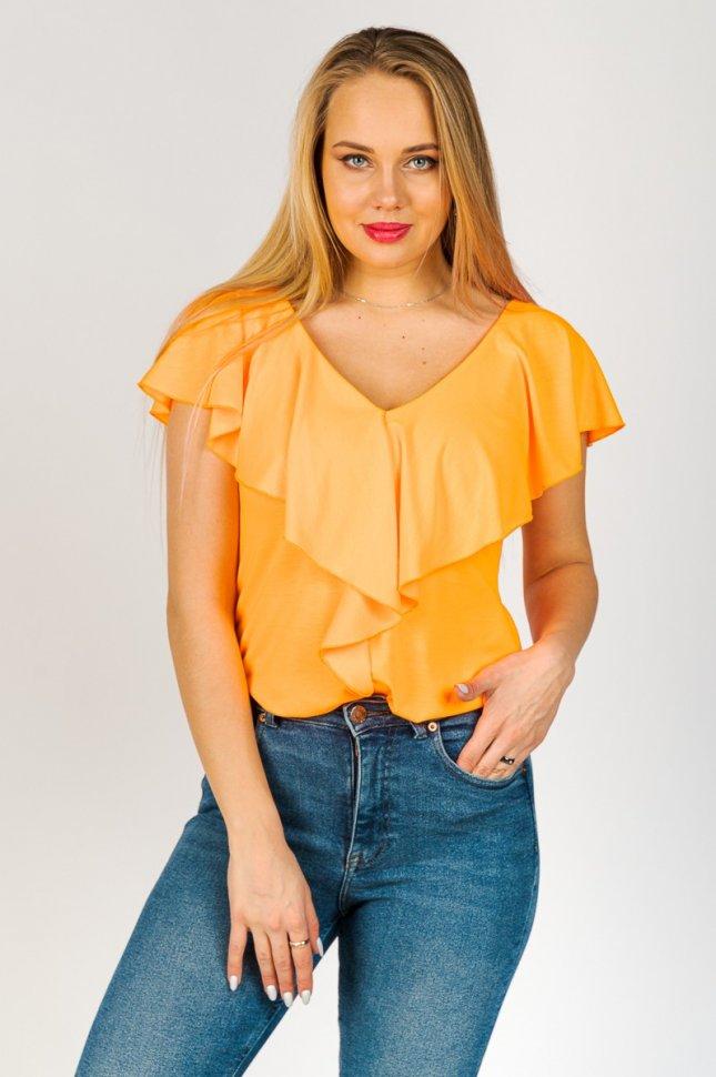 Блуза трикотажная Брита (оранжевая) фото