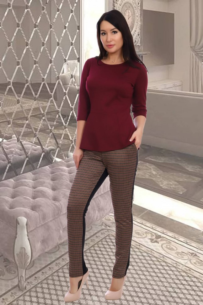 Блуза трикотажная Валенсия (бордовая) фото
