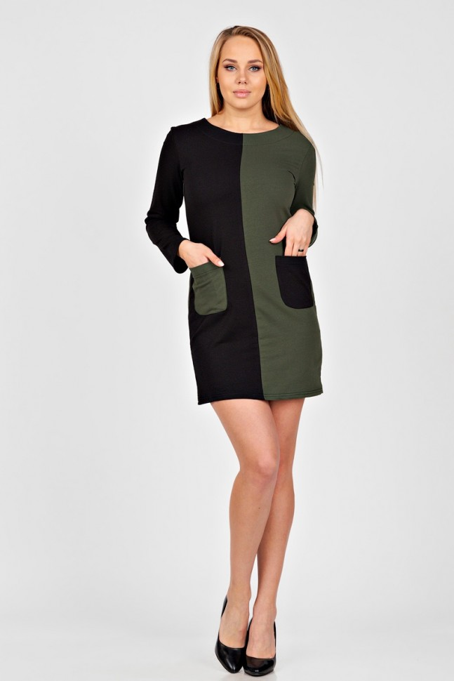 Платье трикотажное Джинетта (хаки) фото