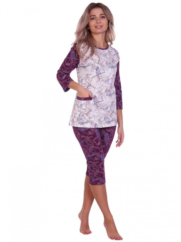 Пижама трикотажная Адди (бордовая) фото