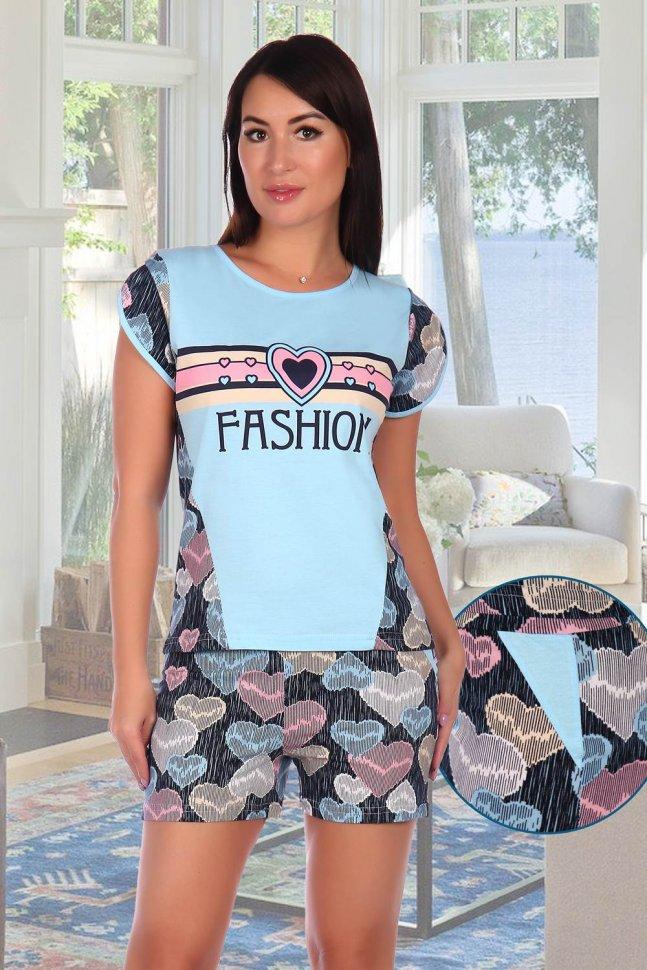 Пижама трикотажная Лина (голубая) фото