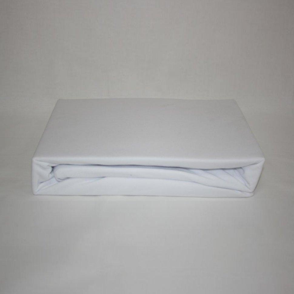 Простынь на резинке трикотажная 160x200 (белая) фото