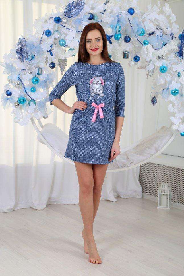 Платье трикотажное Аделита (синее) Инсантрик