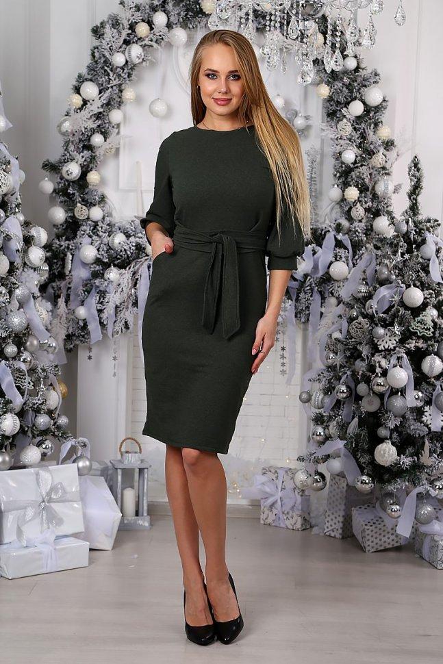 Платье трикотажное Кларити (серо-зеленое) фото