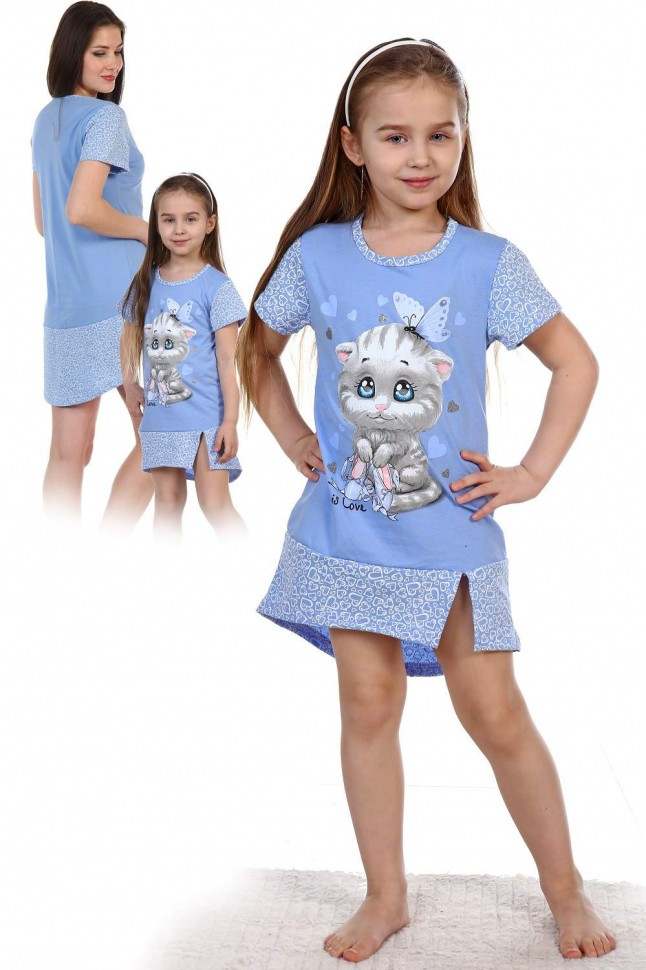 Туника детская Катя (голубая) фото