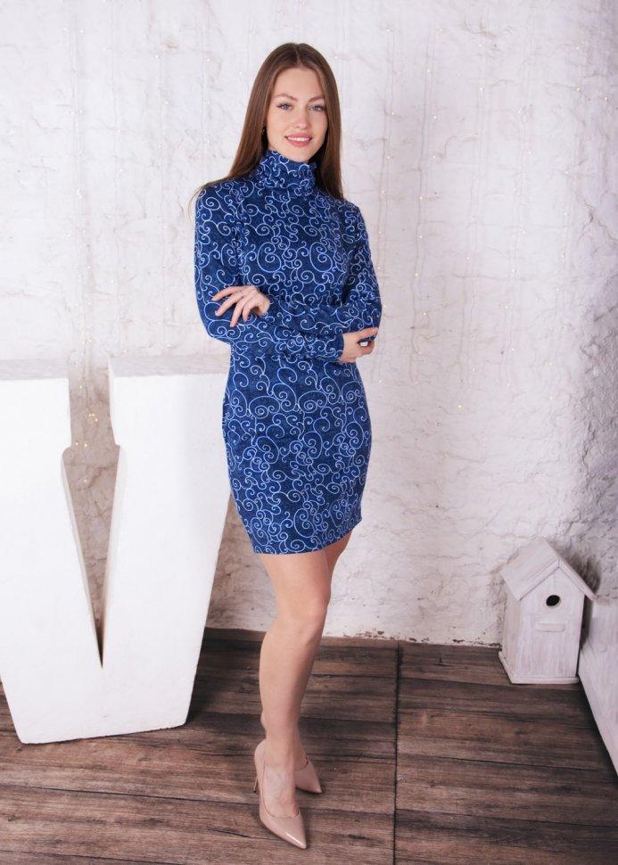 Платье трикотажное Аллин (голубой узор) фото