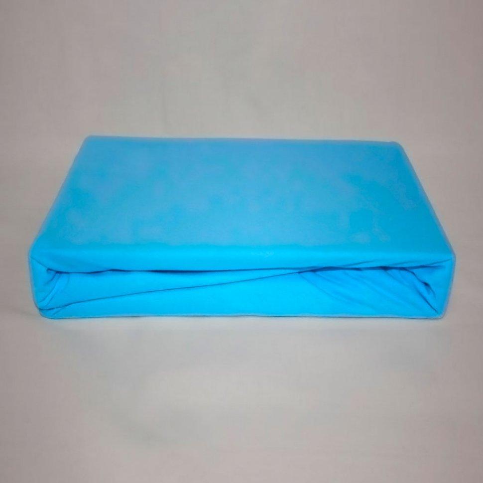 Простынь на резинке трикотажная 160x200 (голубая) фото