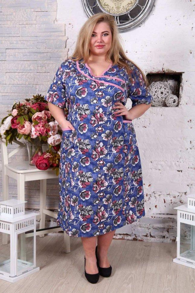 Платье трикотажное Домашнее (синее) фото