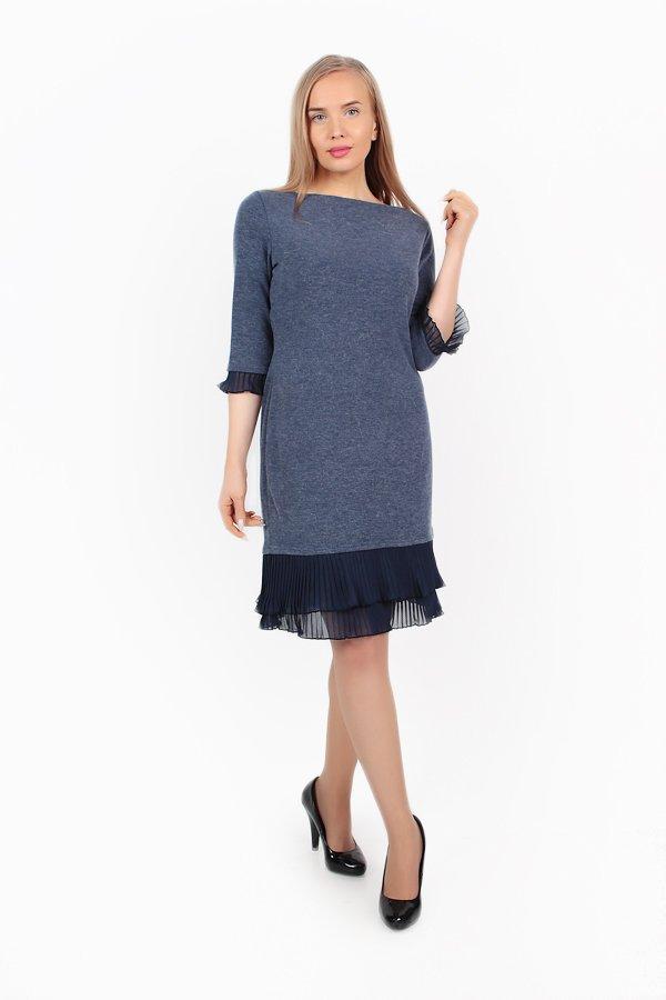 Платье трикотажное Зена (синее) фото