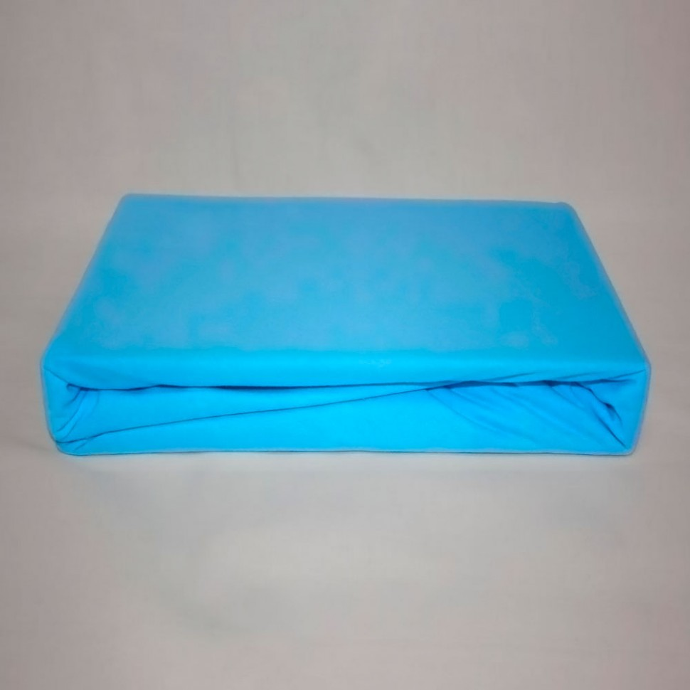 Простынь на резинке трикотажная 120x200 (голубая) фото