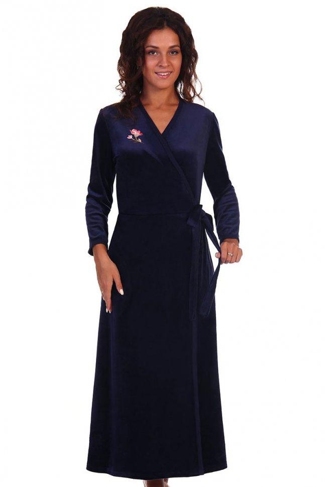 Халат велюровый Дороти (темно-синий)