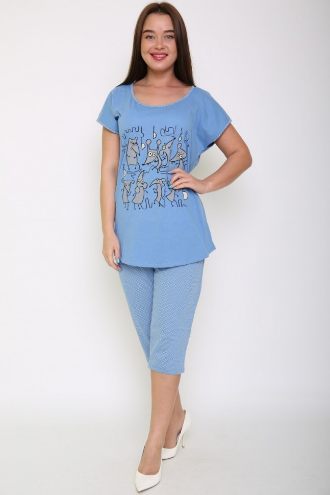 Пижама трикотажная Вечеринка (голубая) фото