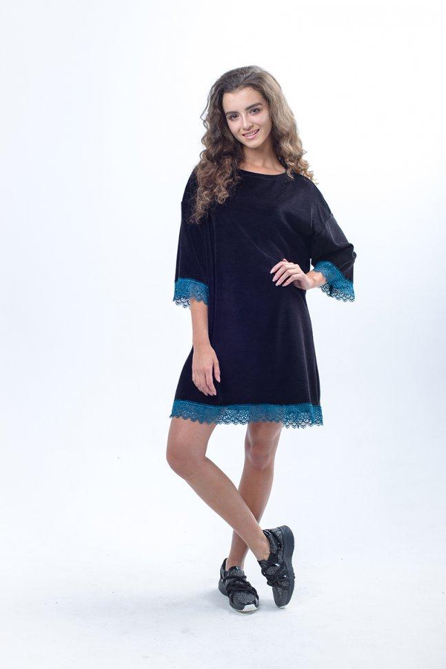 Платье велюровое Юдора (темно-синее) фото