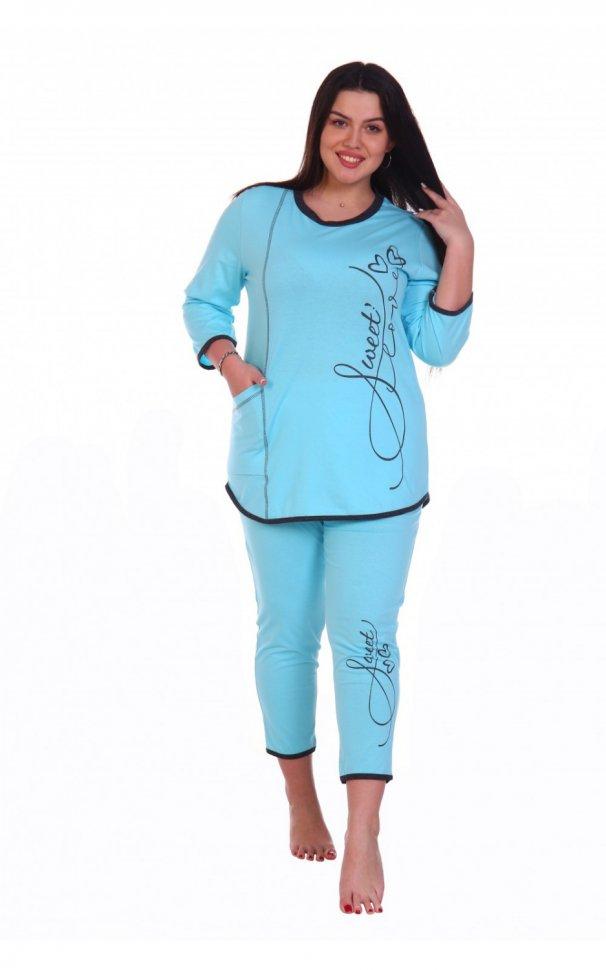 Пижама трикотажная Нежка (голубая) фото