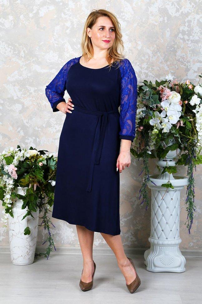 Платье трикотажное Энни (темно-синее) фото