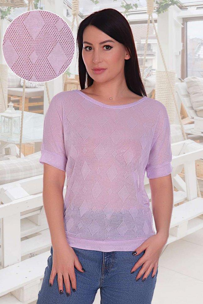 Блуза трикотажная Ажур (сиреневая) фото
